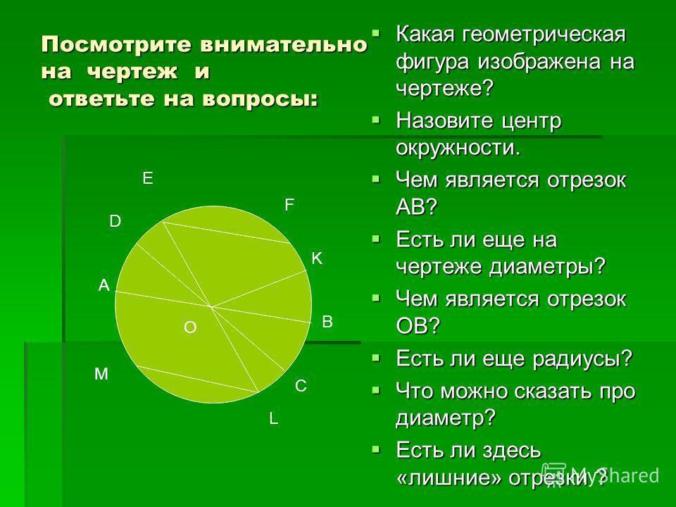Посмотрите внимательно на чертеж и ответьте на вопросы: Какая геометрическая фигура изображена на чертеже? Какая геометрическая фигура изображена на чертеже? Назовите центр окружности. Назовите центр окружности. Чем является отрезок АВ? Чем является