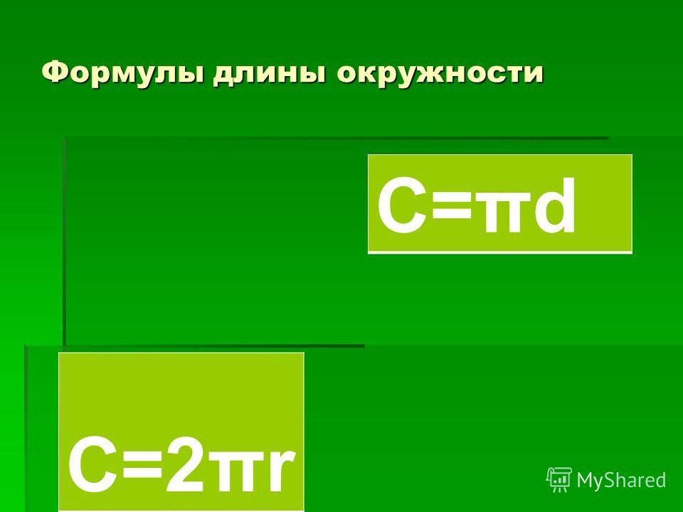 Формулы длины окружности С=2πr С=πd