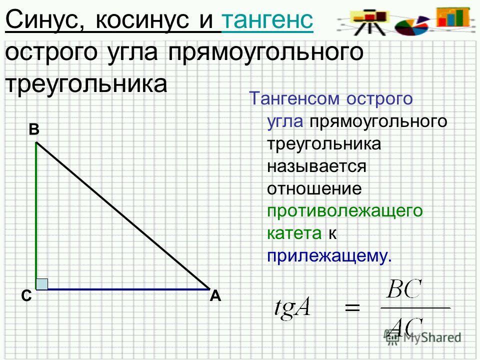 Синус, косинус и тангенс острого угла прямоугольного треугольникатангенс Тангенсом острого угла прямоугольного треугольника называется отношение противолежащего катета к прилежащему. В СА