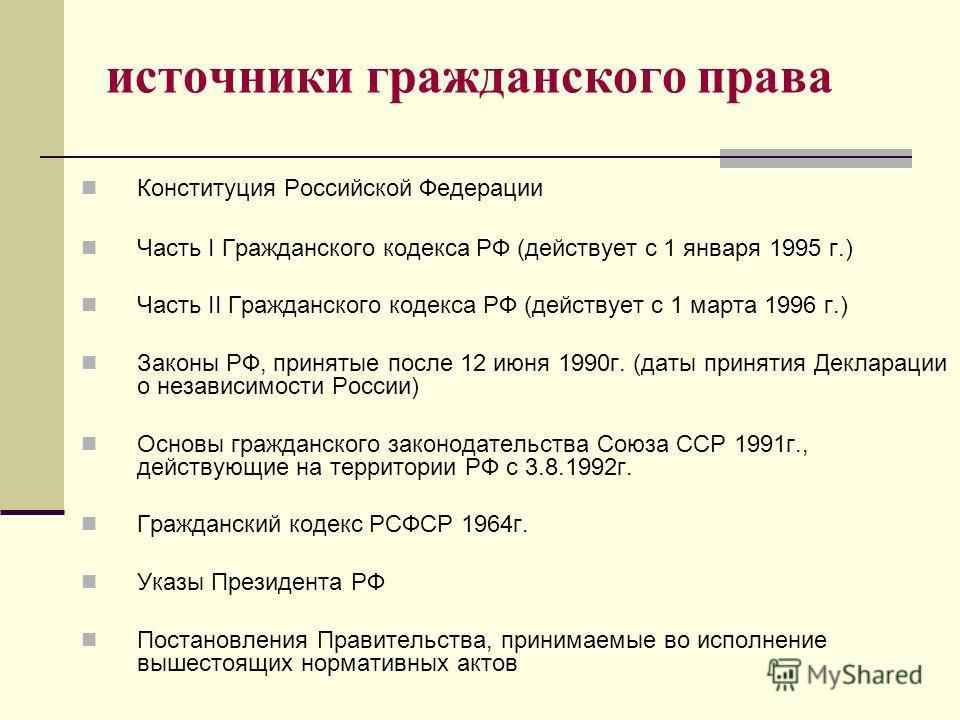 источники гражданского права Конституция Российской Федерации Часть I Гражданского кодекса РФ (действует с 1 января 1995 г.) Часть II Гражданского кодекса РФ (действует с 1 марта 1996 г.) Законы РФ, принятые после 12 июня 1990г. (даты принятия Деклар