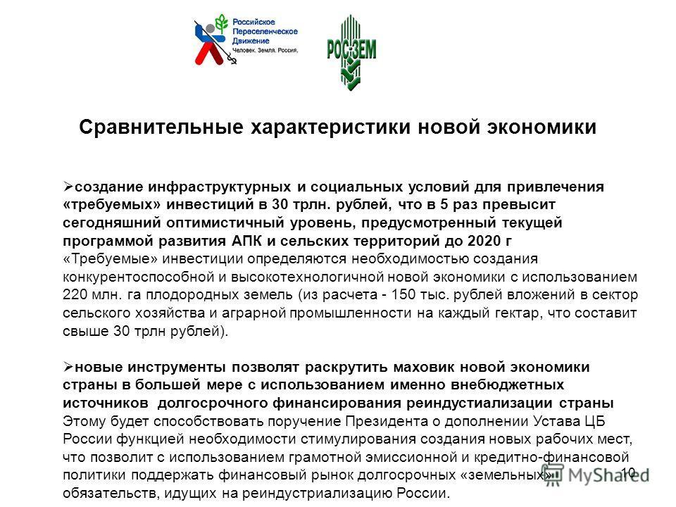 создание инфраструктурных и социальных условий для привлечения «требуемых» инвестиций в 30 трлн. рублей, что в 5 раз превысит сегодняшний оптимистичный уровень, предусмотренный текущей программой развития АПК и сельских территорий до 2020 г «Требуемы