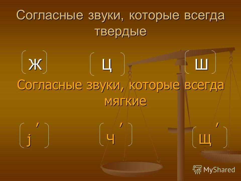 Согласные звуки, которые всегда твердые Ж Ц Ш Ж Ц Ш Согласные звуки, которые всегда мягкие,,,,,, j Ч Щ j Ч Щ