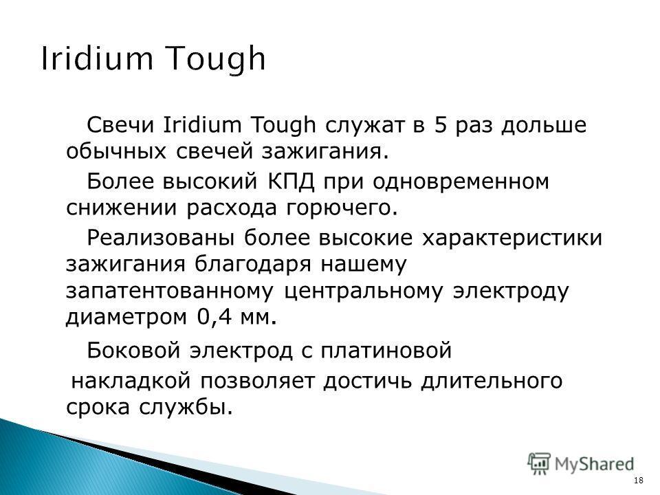 Свечи Iridium Tough служат в 5 раз дольше обычных свечей зажигания. Более высокий КПД при одновременном снижении расхода горючего. Реализованы более высокие характеристики зажигания благодаря нашему запатентованному центральному электроду диаметром 0