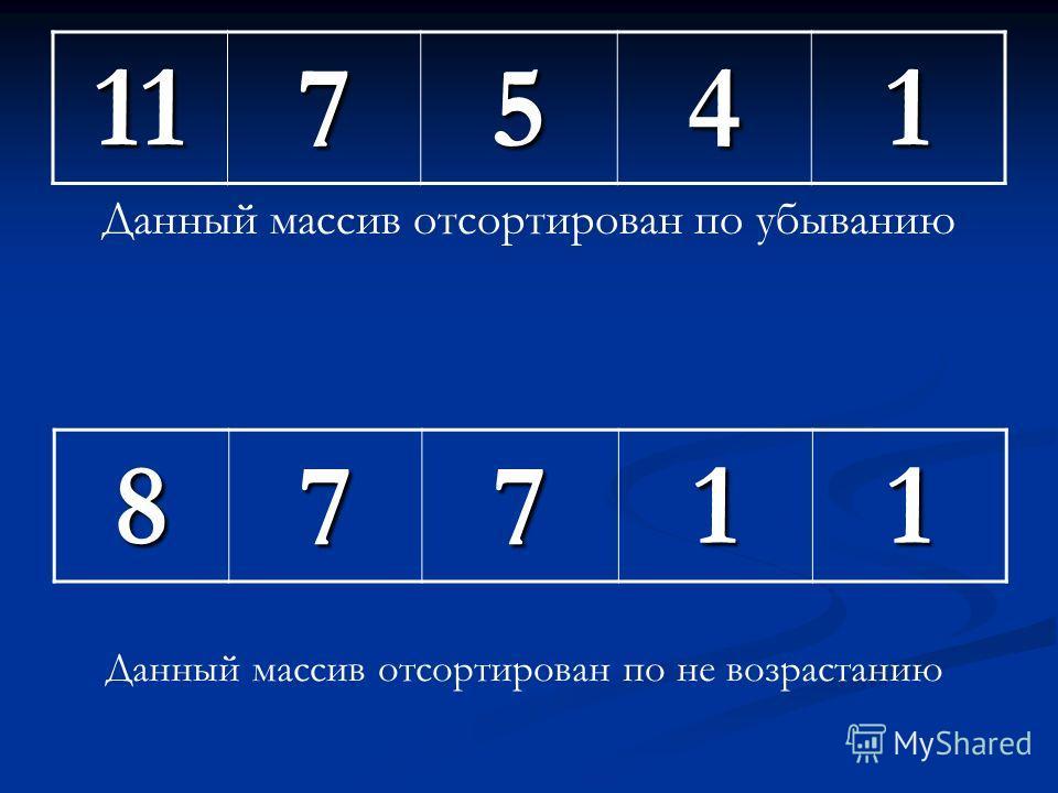 135711 Данный массив отсортирован по не убыванию13378 Данный массив отсортирован по возрастанию