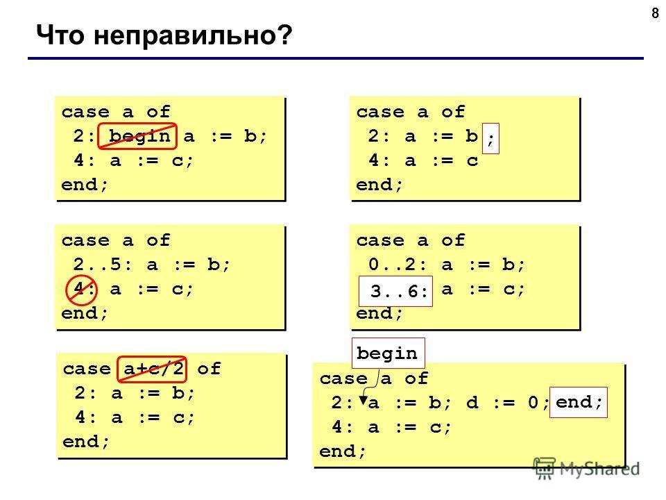 8 Что неправильно? case a of 2: begin a := b; 4: a := c; end; case a of 2: begin a := b; 4: a := c; end; case a of 2: a := b 4: a := c end; case a of 2: a := b 4: a := c end; ; case a of 2..5: a := b; 4: a := c; end; case a of 2..5: a := b; 4: a := c