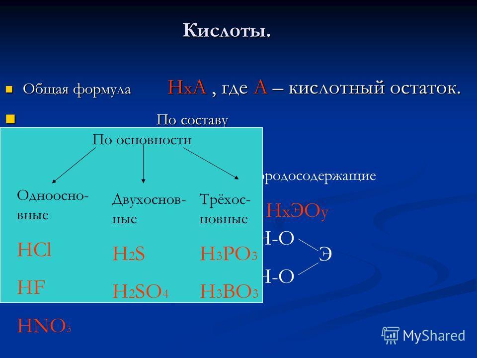 Кислоты. Общая формула Н х А, где А – кислотный остаток. Общая формула Н х А, где А – кислотный остаток. По составу По составу Бескислородные Н х Э Кислородосодержащие Н х ЭО у Н-Э Н-О Э По основности Одноосно- вные HCl HF HNO 3 Двухоснов- ные H 2 S