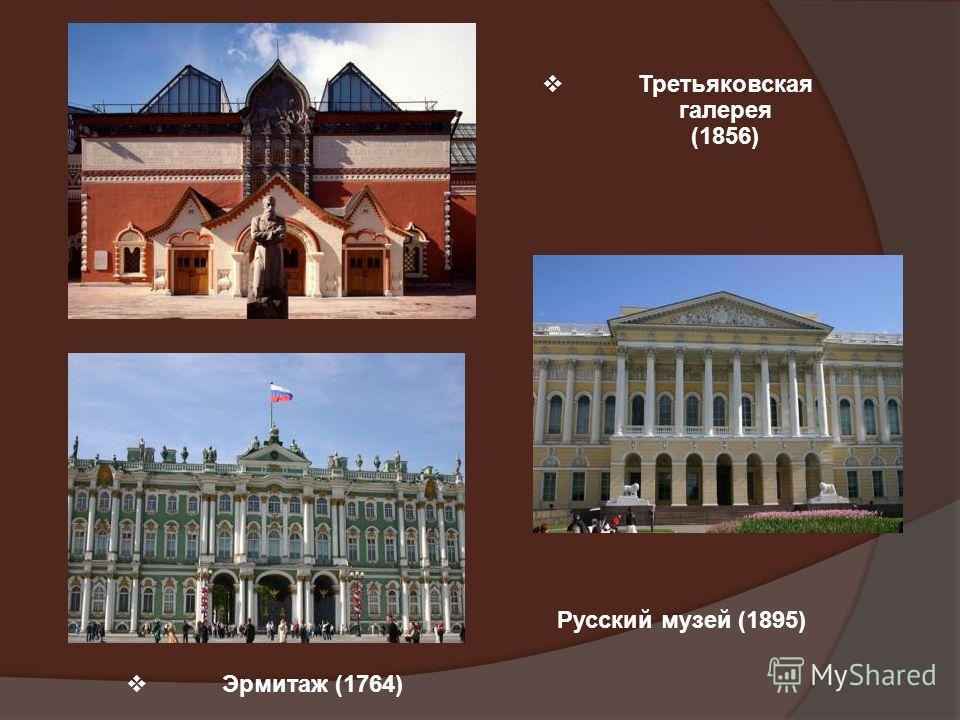 Третьяковская галерея (1856) Эрмитаж (1764) Русский музей (1895)