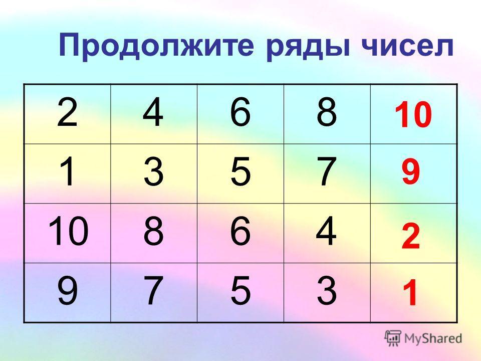 Продолжите ряды чисел 2468? 1357? 10864? 9753? 9 2 1