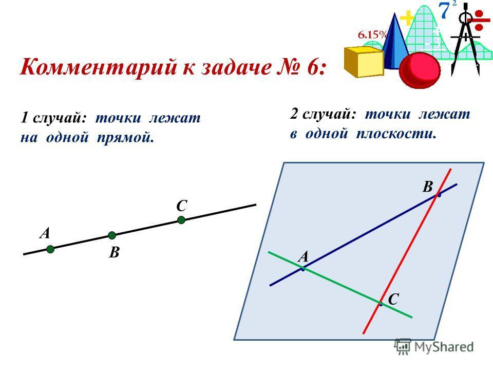 Комментарий к задаче 6: А В С 1 случай: точки лежат на одной прямой. А В С 2 случай: точки лежат в одной плоскости.