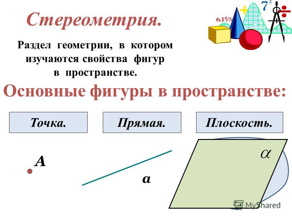 Стереометрия. Раздел геометрии, в котором изучаются свойства фигур в пространстве. Основные фигуры в пространстве: А Точка. а Прямая.Плоскость.