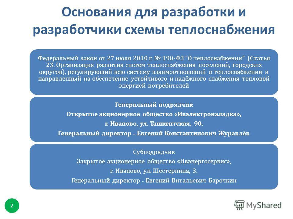 Основания для разработки и разработчики схемы теплоснабжения 2 Федеральный закон от 27 июля 2010 г. 190- ФЗ
