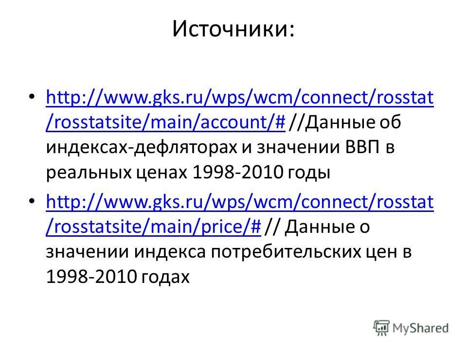 Источники: http://www.gks.ru/wps/wcm/connect/rosstat /rosstatsite/main/account/# //Данные об индексах-дефляторах и значении ВВП в реальных ценах 1998-2010 годы http://www.gks.ru/wps/wcm/connect/rosstat /rosstatsite/main/account/# http://www.gks.ru/wp