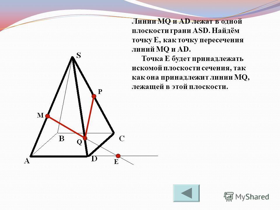 M P Q Линии MQ и AD лежат в одной плоскости грани ASD. Найдём точку Е, как точку пересечения линий MQ и AD. Точка Е будет принадлежать искомой плоскости сечения, так как она принадлежит линии MQ, лежащей в этой плоскости. Е