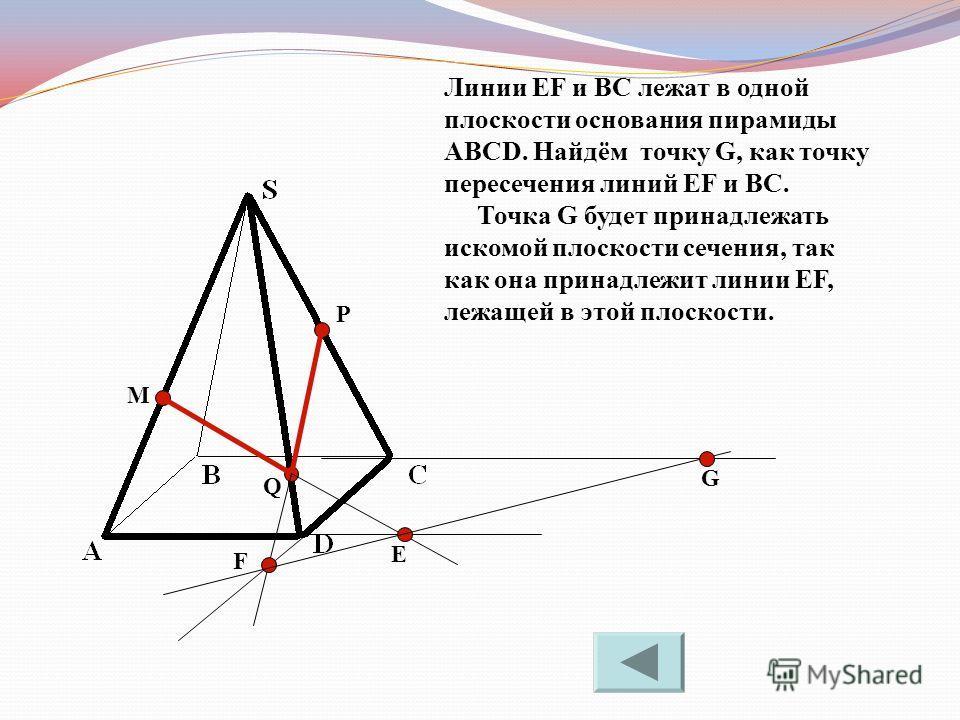 M P Q Е F Линии EF и BC лежат в одной плоскости основания пирамиды ABCD. Найдём точку G, как точку пересечения линий EF и BC. Точка G будет принадлежать искомой плоскости сечения, так как она принадлежит линии EF, лежащей в этой плоскости. G