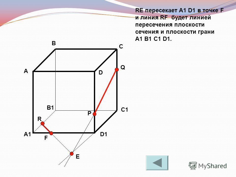 RE пересекает A1 D1 в точке F и линия RF будет линией пересечения плоскости сечения и плоскости грани A1 B1 C1 D1. А В С D A1 B1 C1 D1 R P Q E F