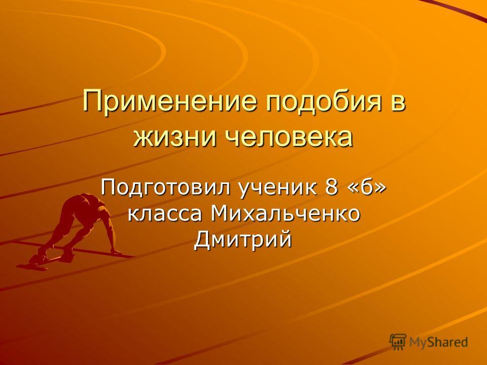 Применение подобия в жизни человека Подготовил ученик 8 «б» класса Михальченко Дмитрий