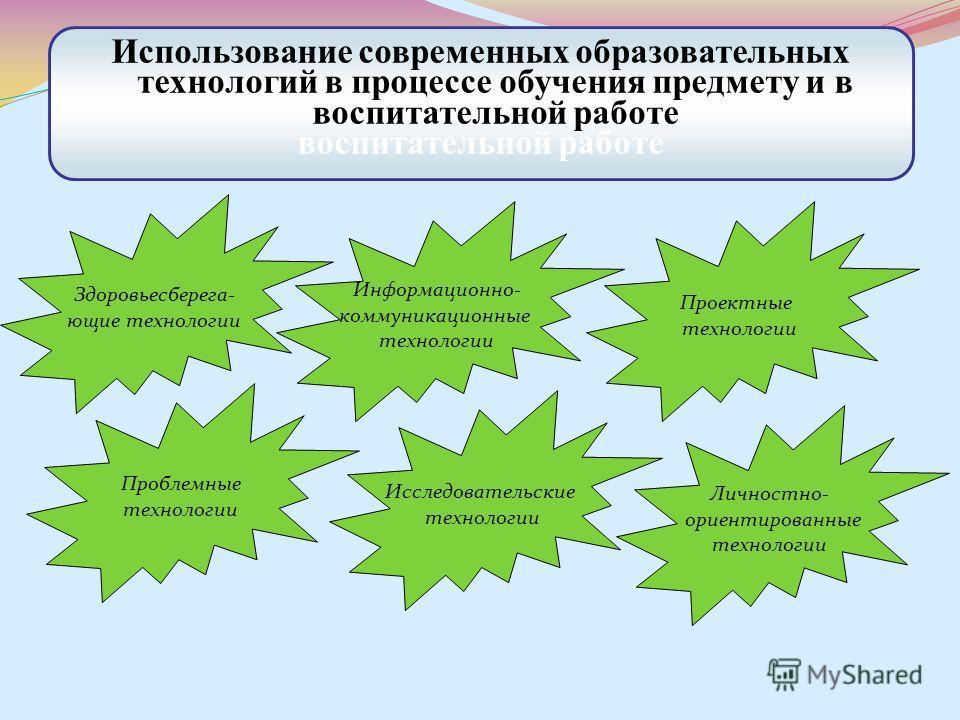 Использование современных образовательных технологий в процессе обучения предмету и в воспитательной работе воспитательной работе Здоровьесберега- ющие технологии Информационно- коммуникационные технологии Проектные технологии Проблемные технологии И