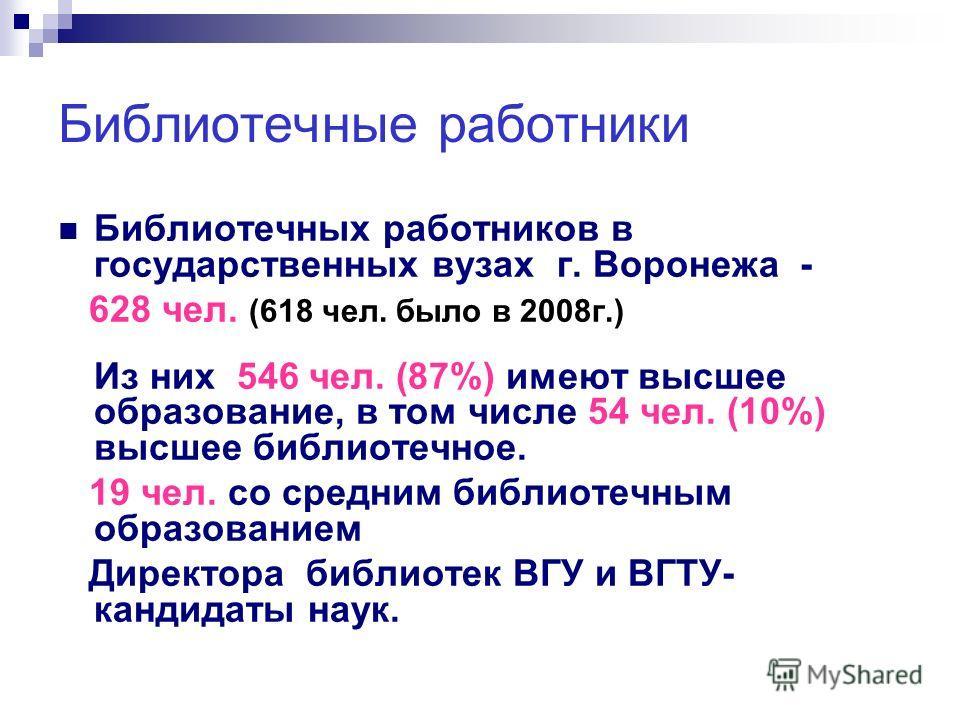 Библиотечные работники Библиотечных работников в государственных вузах г. Воронежа - 628 чел. (618 чел. было в 2008г.) Из них 546 чел. (87%) имеют высшее образование, в том числе 54 чел. (10%) высшее библиотечное. 19 чел. со средним библиотечным обра