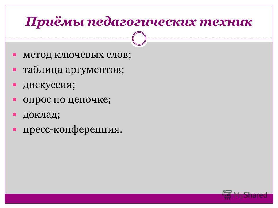 Приёмы педагогических техник метод ключевых слов; таблица аргументов; дискуссия; опрос по цепочке; доклад; пресс-конференция.