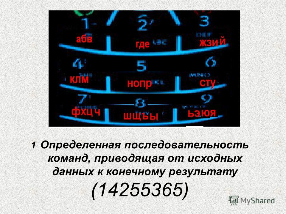 1. Определенная последовательность команд, приводящая от исходных данных к конечному результату (14255365)