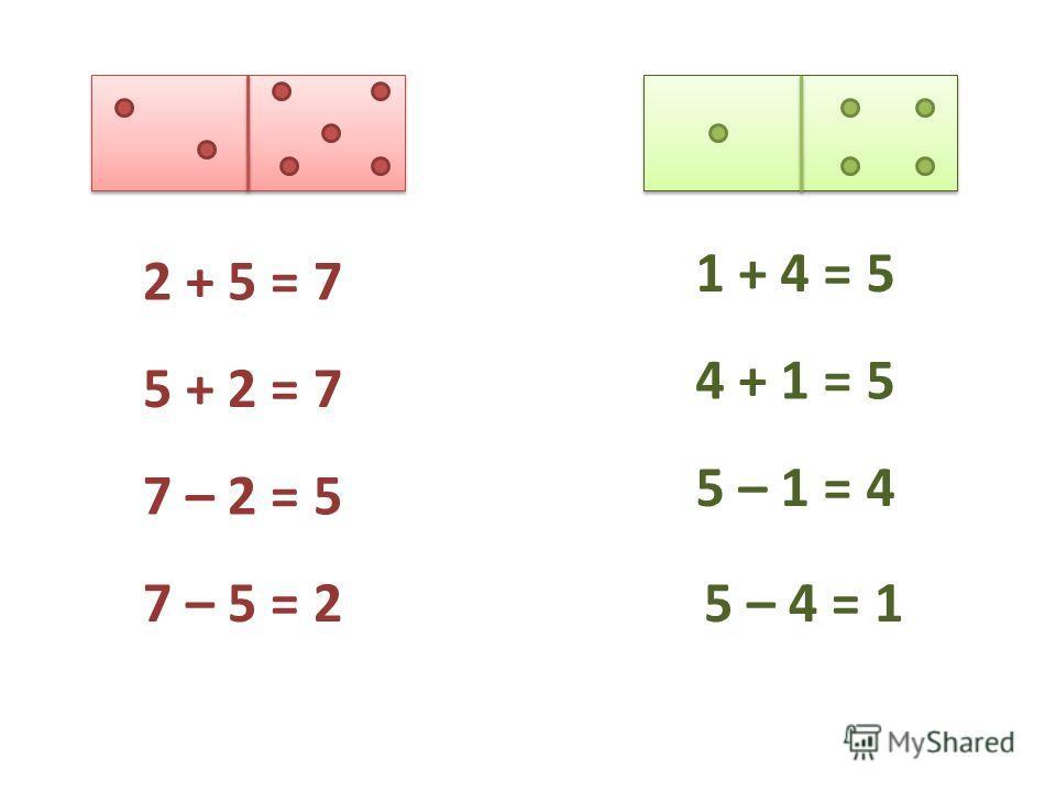 2 + 5 = 7 5 + 2 = 7 7 – 2 = 5 7 – 5 = 2 1 + 4 = 5 4 + 1 = 5 5 – 1 = 4 5 – 4 = 1
