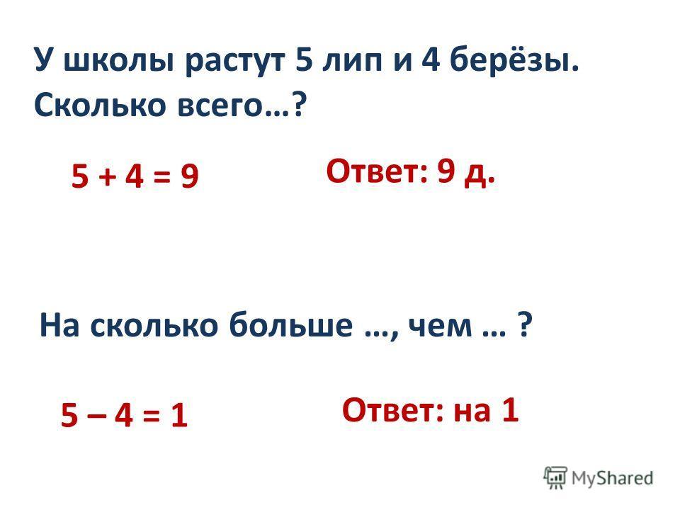 5 + 4 = 9 У школы растут 5 лип и 4 берёзы. Сколько всего…? Ответ: 9 д. На сколько больше …, чем … ? 5 – 4 = 1 Ответ: на 1