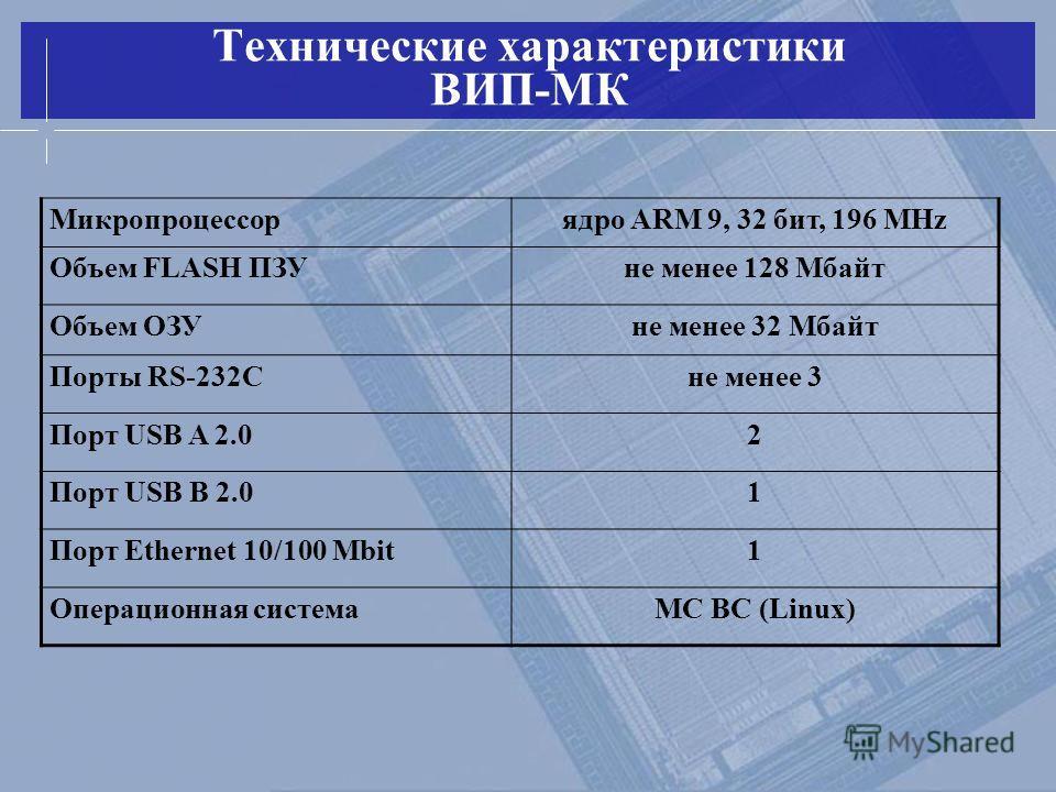 Технические характеристики ВИП-МК Микропроцессорядро ARM 9, 32 бит, 196 MHz Объем FLASH ПЗУне менее 128 Мбайт Объем ОЗУне менее 32 Мбайт Порты RS-232Сне менее 3 Порт USB A 2.02 Порт USB B 2.01 Порт Ethernet 10/100 Mbit1 Операционная системаМС ВС (Lin