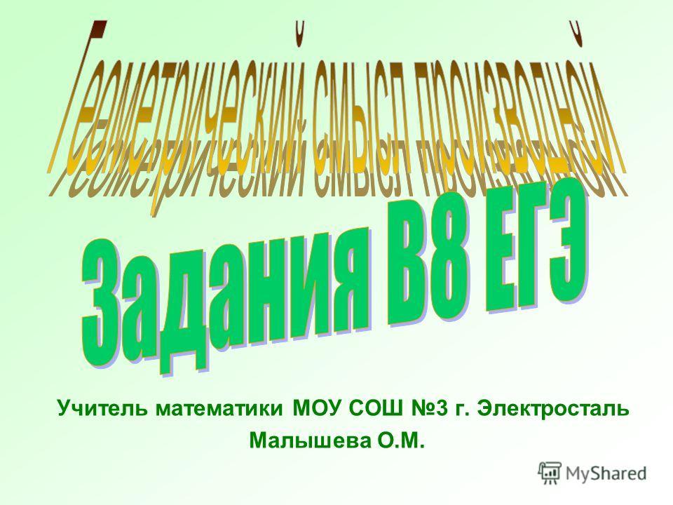 Учитель математики МОУ СОШ 3 г. Электросталь Малышева О.М.