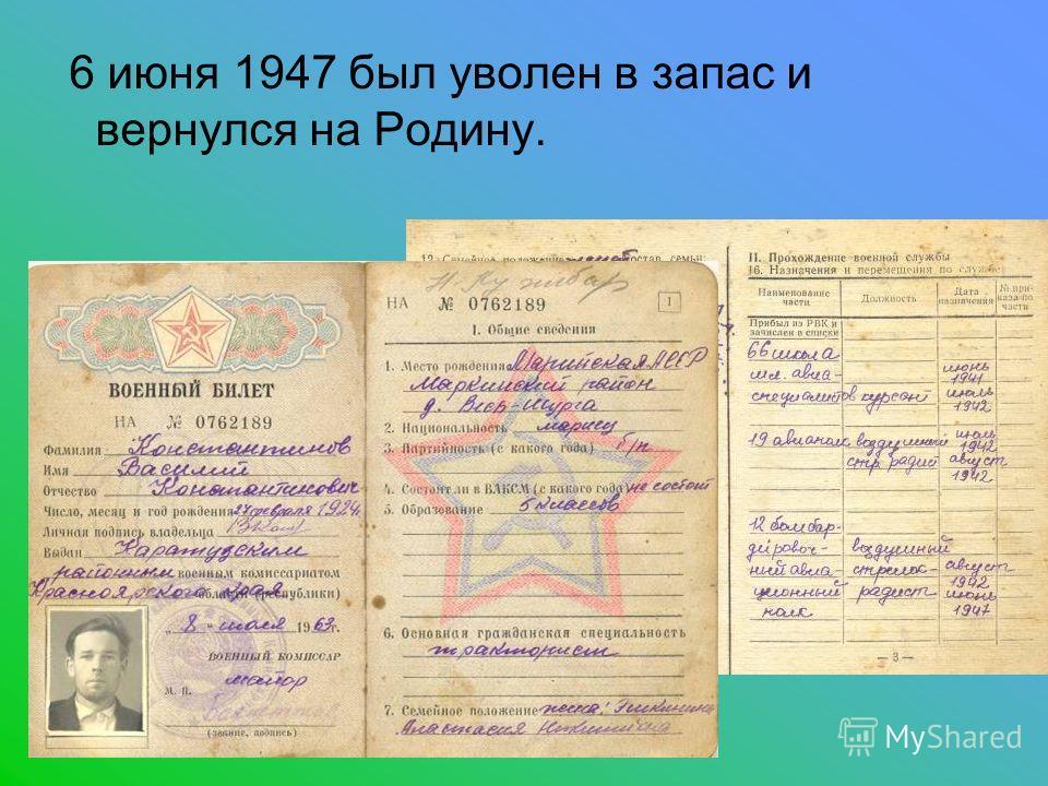 6 июня 1947 был уволен в запас и вернулся на Родину.