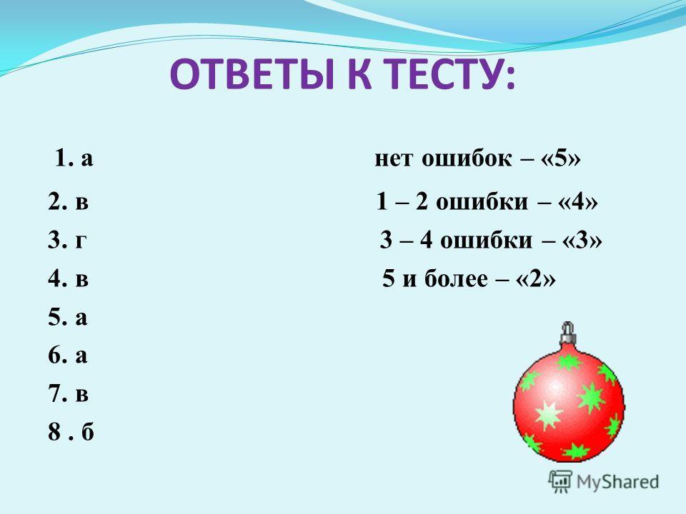 ОТВЕТЫ К ТЕСТУ: 1. а нет ошибок – «5» 2. в 1 – 2 ошибки – «4» 3. г 3 – 4 ошибки – «3» 4. в 5 и более – «2» 5. а 6. а 7. в 8. б