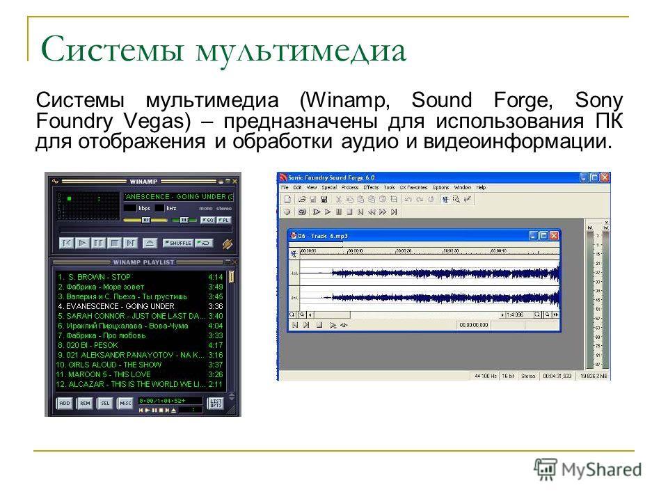 Системы мультимедиа Системы мультимедиа (Winamp, Sound Forge, Sony Foundry Vegas) – предназначены для использования ПК для отображения и обработки аудио и видеоинформации.
