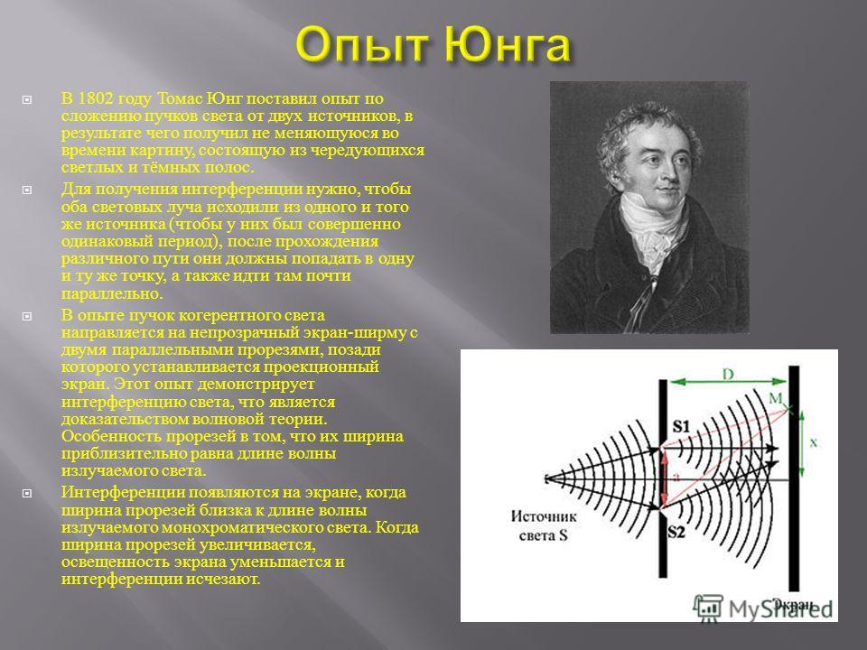 В 1802 году Томас Юнг поставил опыт по сложению пучков света от двух источников, в результате чего получил не меняющуюся во времени картину, состоящую из чередующихся светлых и тёмных полос. Для получения интерференции нужно, чтобы оба световых луча