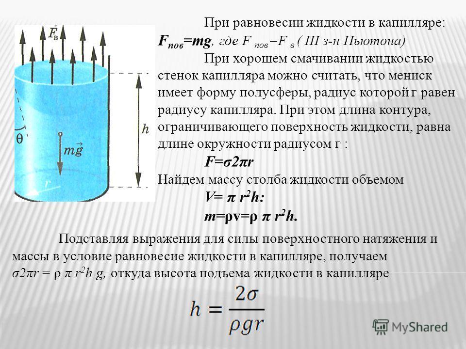 При равновесии жидкости в капилляре: F пов =mg, где F пов =F в ( III з-н Ньютона) При хорошем смачивании жидкостью стенок капилляра можно считать, что мениск имеет форму полусферы, радиус которой г равен радиусу капилляра. При этом длина контура, огр