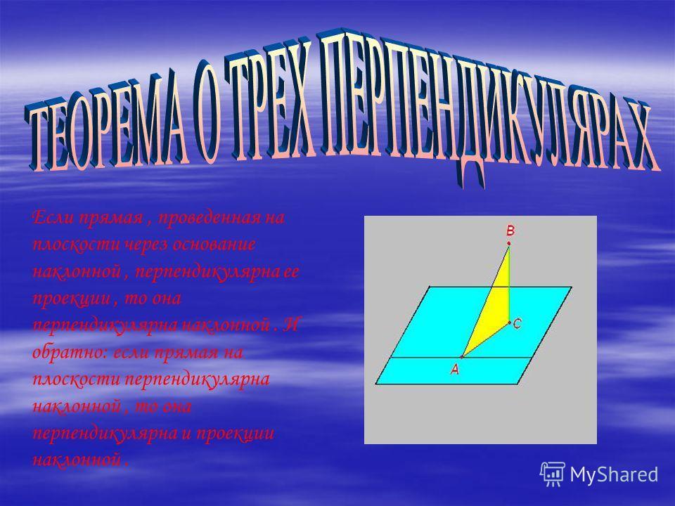 Если прямая, проведенная на плоскости через основание наклонной, перпендикулярна ее проекции, то она перпендикулярна наклонной. И обратно: если прямая на плоскости перпендикулярна наклонной, то она перпендикулярна и проекции наклонной.