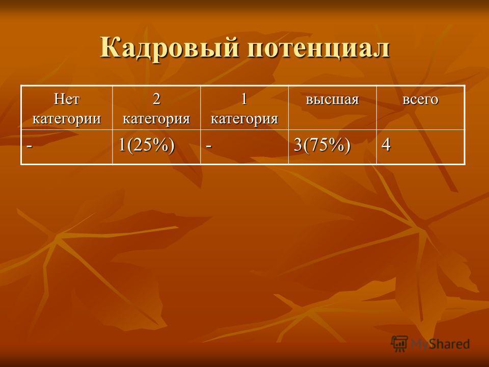 Кадровый потенциал Нет категории 2 категория 1 категория высшаявсего -1(25%)-3(75%)4