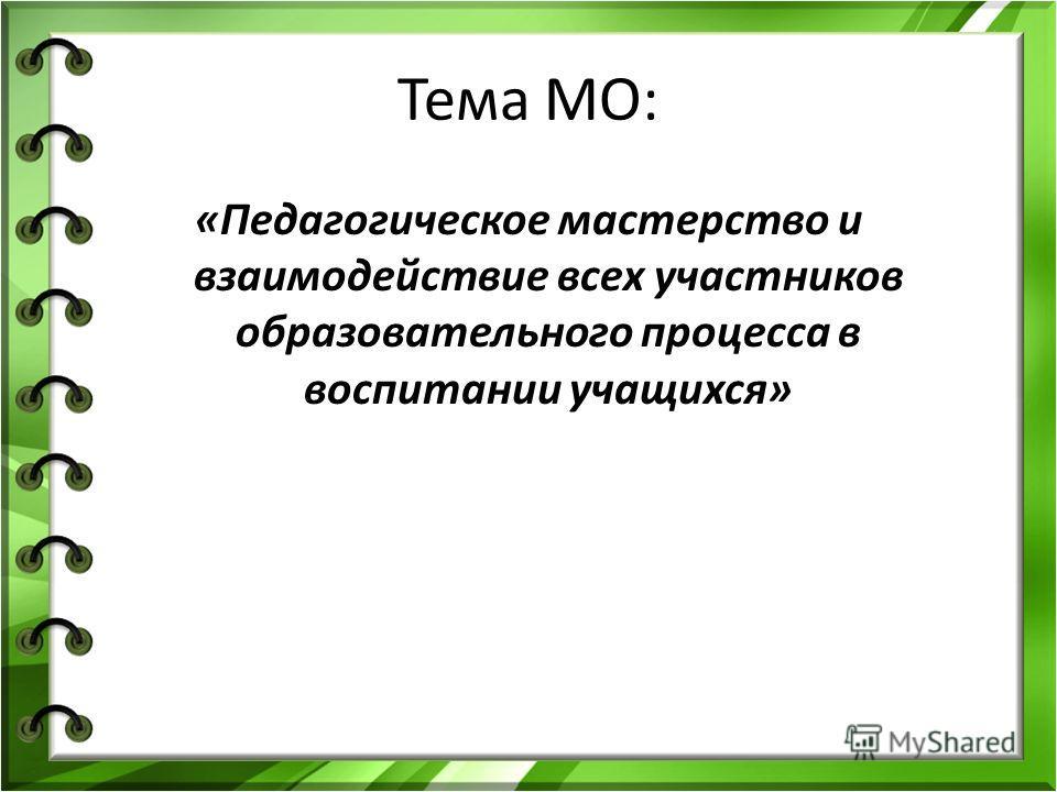 Тема МО: «Педагогическое мастерство и взаимодействие всех участников образовательного процесса в воспитании учащихся»