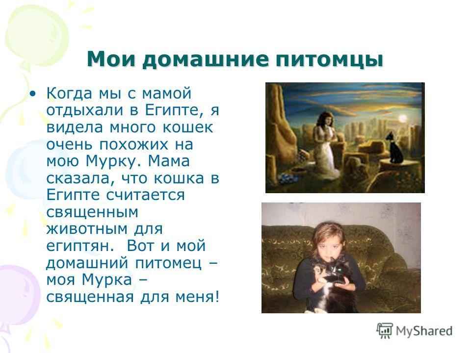 Мои домашние питомцы Когда мы с мамой отдыхали в Египте, я видела много кошек очень похожих на мою Мурку. Мама сказала, что кошка в Египте считается священным животным для египтян. Вот и мой домашний питомец – моя Мурка – священная для меня!
