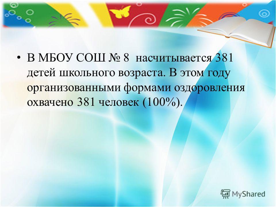 В МБОУ СОШ 8 насчитывается 381 детей школьного возраста. В этом году организованными формами оздоровления охвачено 381 человек (100%).