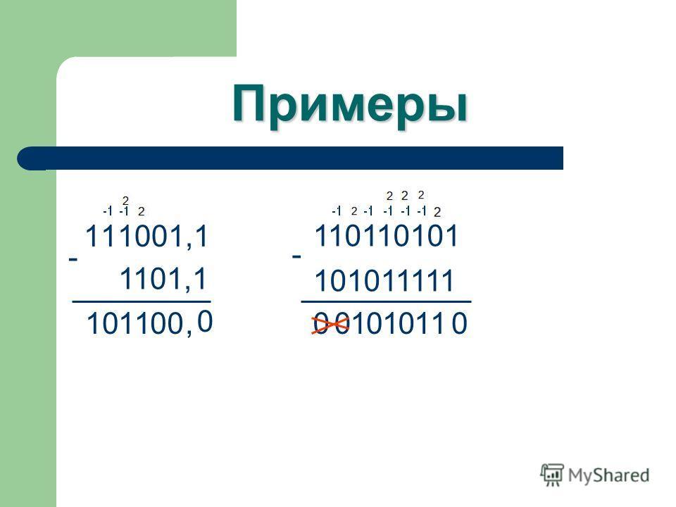 Примеры 111001,1 - 1101,1 0,0011001 110110101 - 101011111 01101100