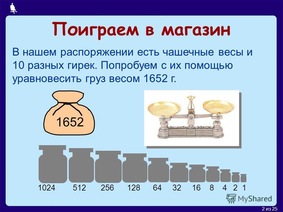2 из 25 Поиграем в магазин В нашем распоряжении есть чашечные весы и 10 разных гирек. Попробуем с их помощью уравновесить груз весом 1652 г. 1652 1024 512 256 128 64 32 16 8 4 2 1