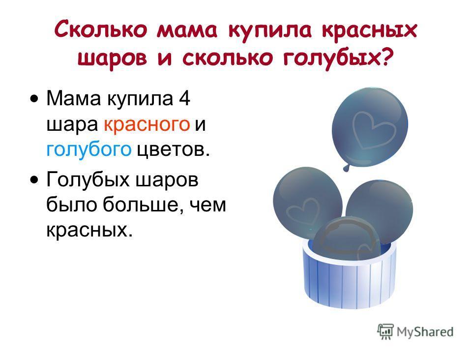 7 из 15 Сколько мама купила красных шаров и сколько голубых? Мама купила 4 шара красного и голубого цветов. Голубых шаров было больше, чем красных.