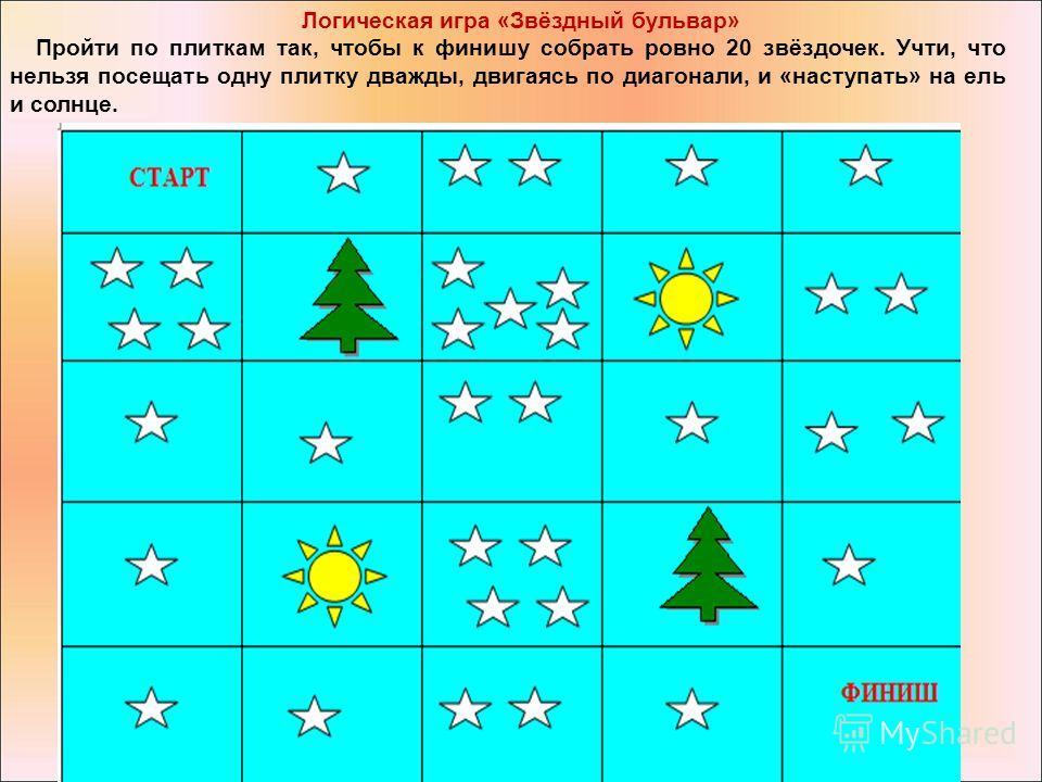 Логическая игра «Звёздный бульвар» Пройти по плиткам так, чтобы к финишу собрать ровно 20 звёздочек. Учти, что нельзя посещать одну плитку дважды, двигаясь по диагонали, и «наступать» на ель и солнце.