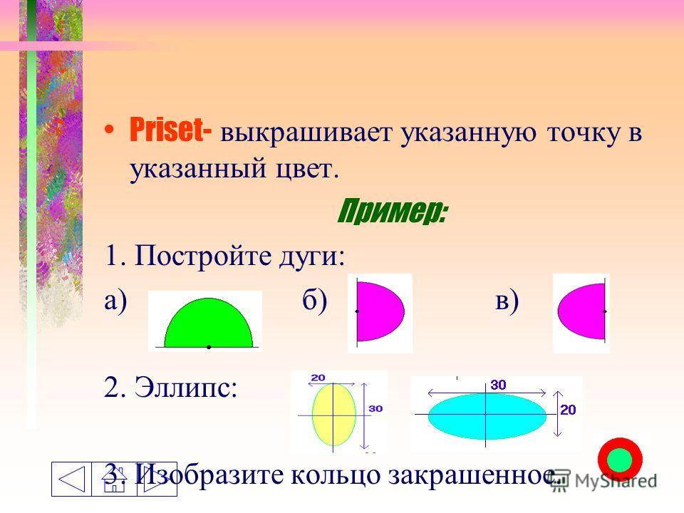 Priset- выкрашивает указанную точку в указанный цвет. Пример: 1. Постройте дуги: а) б) в) 2. Эллипс: 3. Изобразите кольцо закрашенное.