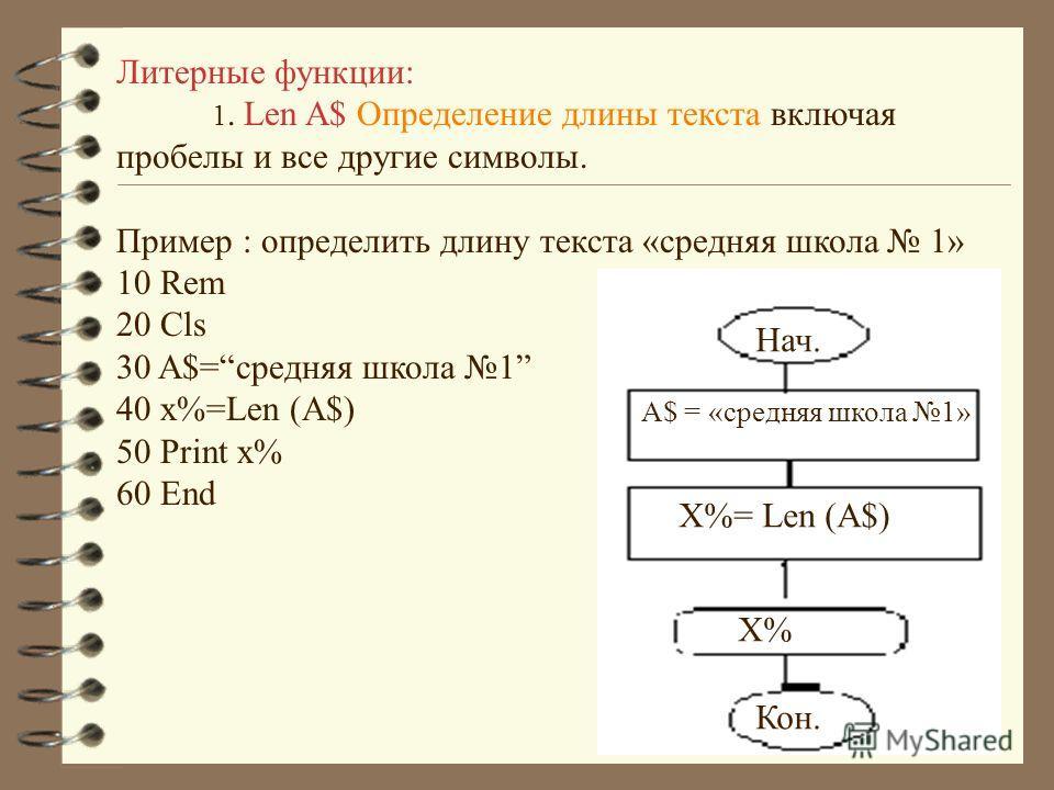 Литерные функции: 1. Len A$ Определение длины текста включая пробелы и все другие символы. Пример : определить длину текста «средняя школа 1» 10 Rem 20 Cls 30 A$=средняя школа 1 40 x%=Len (A$) 50 Print x% 60 End Нач. A$ = «средняя школа 1» X%= Len (A
