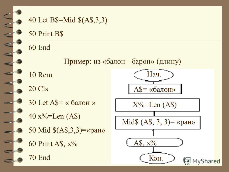 40 Let B$=Mid $(A$,3,3) 50 Print B$ 60 End Пример: из «балон - барон» (длину) 10 Rem 20 Cls 30 Let A$= « балон » 40 x%=Len (A$) 50 Mid $(A$,3,3)=«ран» 60 Print A$, x% 70 End Нач. A$= «балон» X%=Len (A$) Mid$ (A$, 3, 3)= «ран» A$, x% Кон.