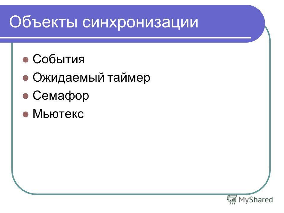 Объекты синхронизации События Ожидаемый таймер Семафор Мьютекс