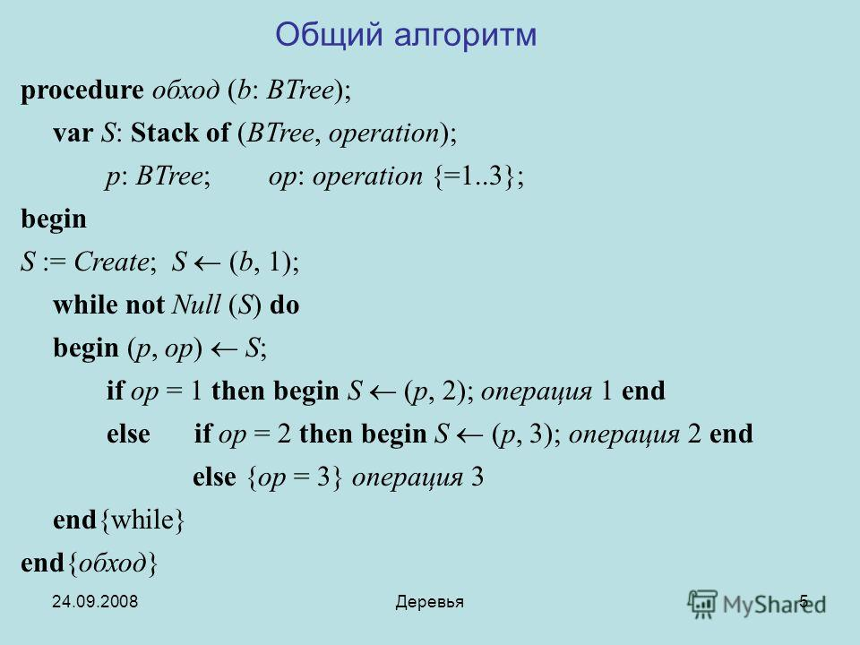 24.09.2008Деревья5 procedure обход (b: BTree); var S: Stack of (BTree, operation); p: BTree; op: operation {=1..3}; begin S := Create; S (b, 1); while not Null (S) do begin (p, op) S; if op = 1 then begin S (p, 2); операция 1 end else if op = 2 then