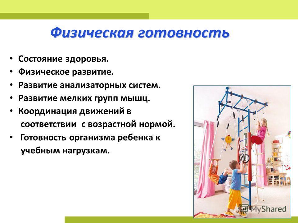 Физическая готовность Состояние здоровья. Физическое развитие. Развитие анализаторных систем. Развитие мелких групп мышц. Координация движений в соответствии с возрастной нормой. Готовность организма ребенка к учебным нагрузкам.