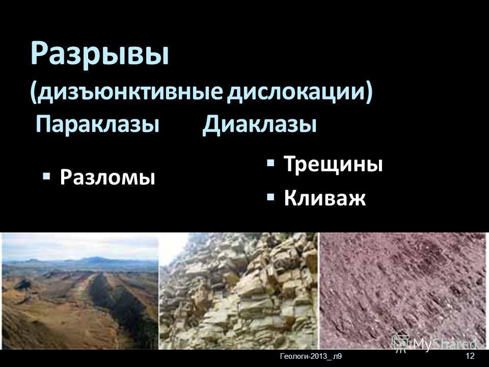 Геологи-2013_ л9 12 Разрывы (дизъюнктивные дислокации) Параклазы Диаклазы Трещины Кливаж Разломы