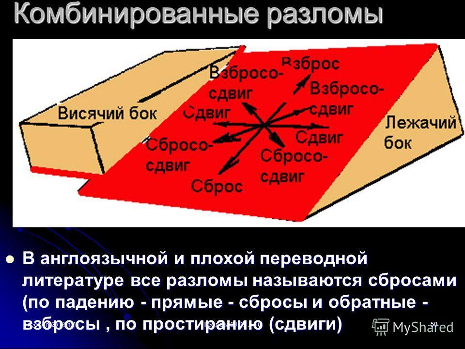 геологи2012-л.10Геологи-2012- л-1050 Комбинированные разломы В англоязычной и плохой переводной литературе все разломы называются сбросами (по падению - прямые - сбросы и обратные - взбросы, по простиранию (сдвиги) В англоязычной и плохой переводной